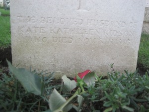 Tribute to Kate Kidson on her husband's grave
